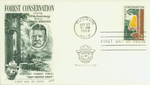 1958 First Day Cover with Smokey Bear cancel and cachet.