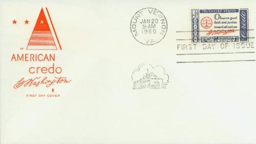 1960 4¢ American Credo: George Washington Classic First Day Cover