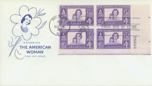 1960 4¢ American Woman Plate Block First Day Cover