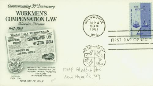 1961 Workmen's Compensation Fleetwood First Day Cover