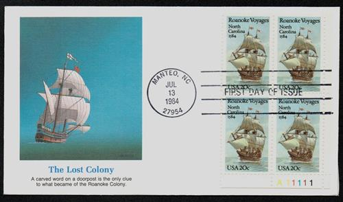 1984 Roanoke Voyages Fleetwood Plate Block First Day Cover