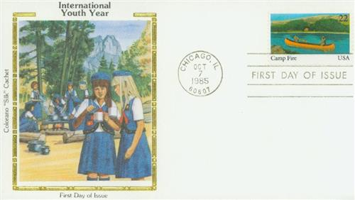 1985 Camp Fire Colorano Silk Cachet First Day Cover