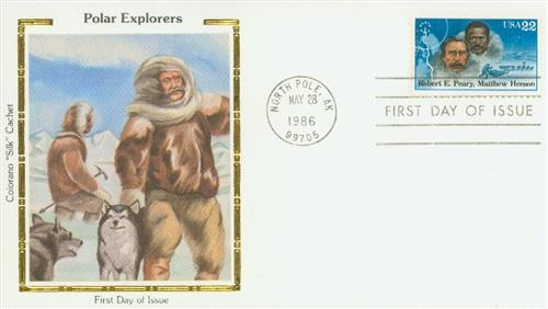 1986 Peary and Henson Colorano Silk Cachet First Day Cover