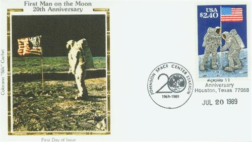 1989 $2.40 Moon Landing Silk First Day Cover