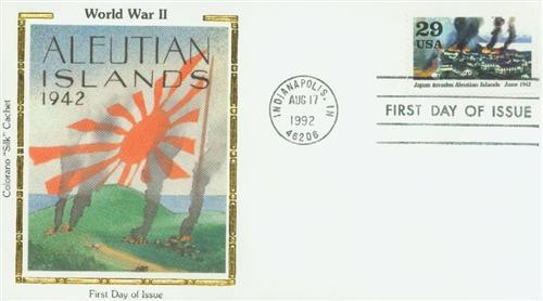 1992 Aleutian Islands Colorano Silk Cachet First Day Cover.