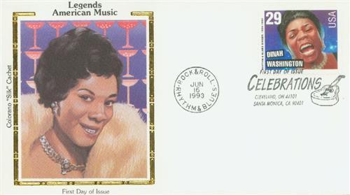 1993 29¢ Dinah Washington Silk Cachet First Day Cover