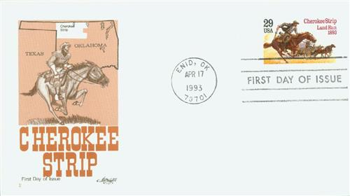 1993 29¢ Cherokee Strip Land Run Classic First Day Cover