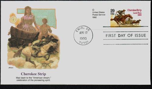 1993 29¢ Cherokee Strip Land Run Fleetwood First Day Cover