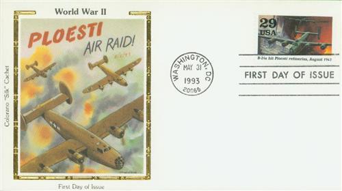 1992 Ploesti Raid US #2765d Colorano Silk Cachet First Day Cover