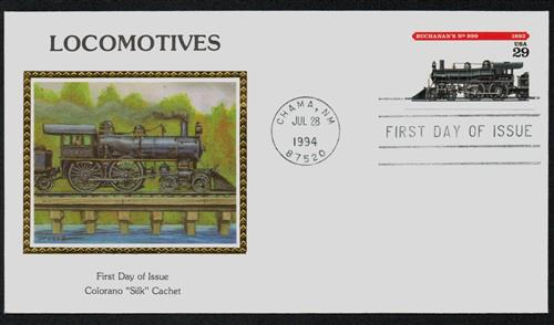 1994 29¢ Locomotives: Buchanan's #999 Colorano Silk Cachet First Day Cover