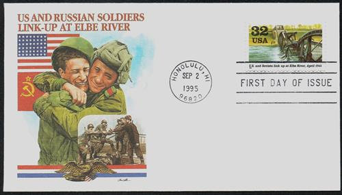 Link-up at Elbe River Fleetwood First Day Cover.
