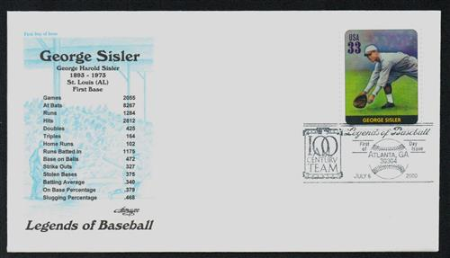 2000 Sisler Classic First Day Cover.