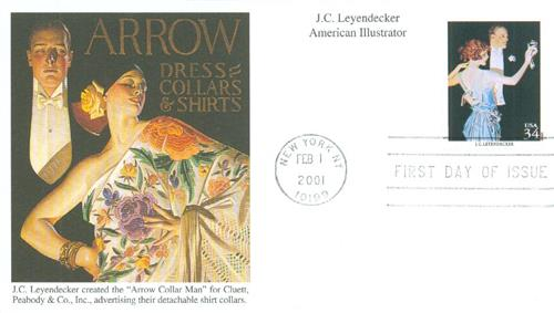 2001 Leyendecker Mystic First Day Cover