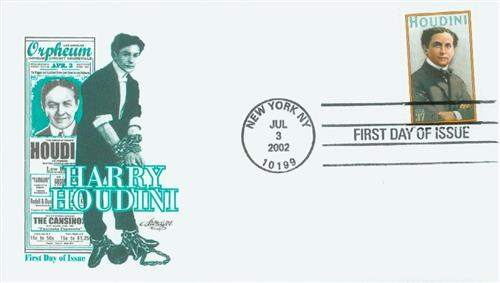 2002 Houdini Classic First Day Cover.