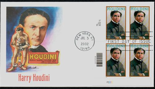 2002 Houdini Fleetwood Plate Block First Day Cover