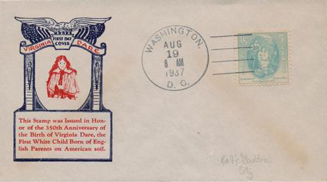 1937 Virginia Dare Classic First Day Cover