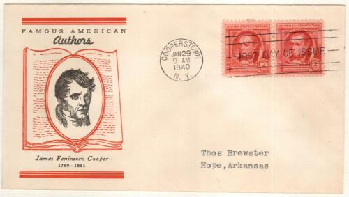 1940 Famous Americans: 2¢ James Fenimore Cooper Classic First Day Cover