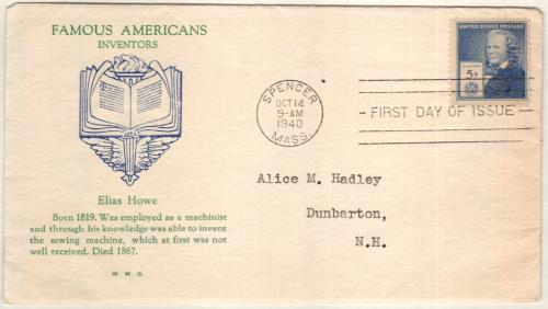 1940 Elias Howe Classic First Day Cover