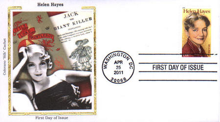 2011 44¢ Helen Hayes Colorano Silk Cachet First Day Cover