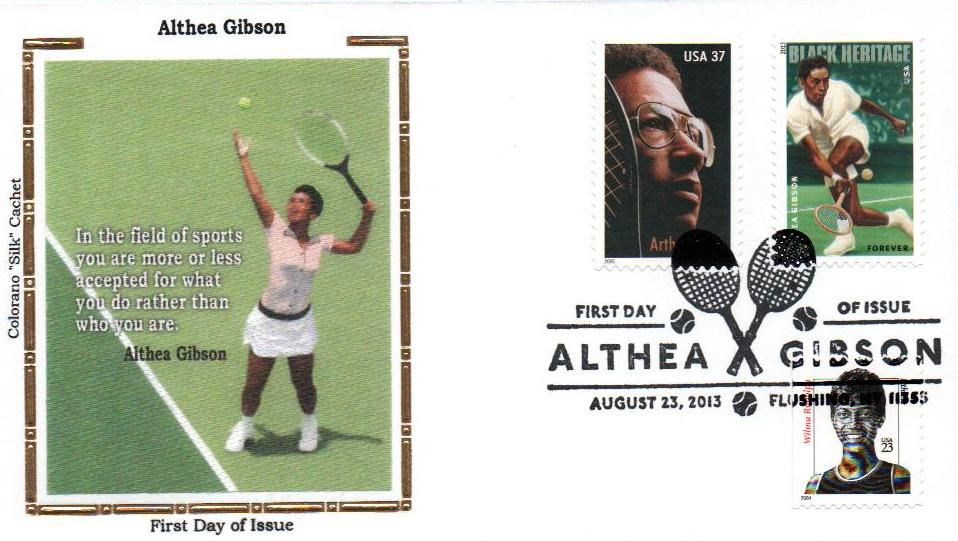 2013 Althea Gibson Colorano Silk Cachet Combination First Day Cover.