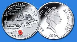 2004 Alderney $5 D-day Coin w/mylar