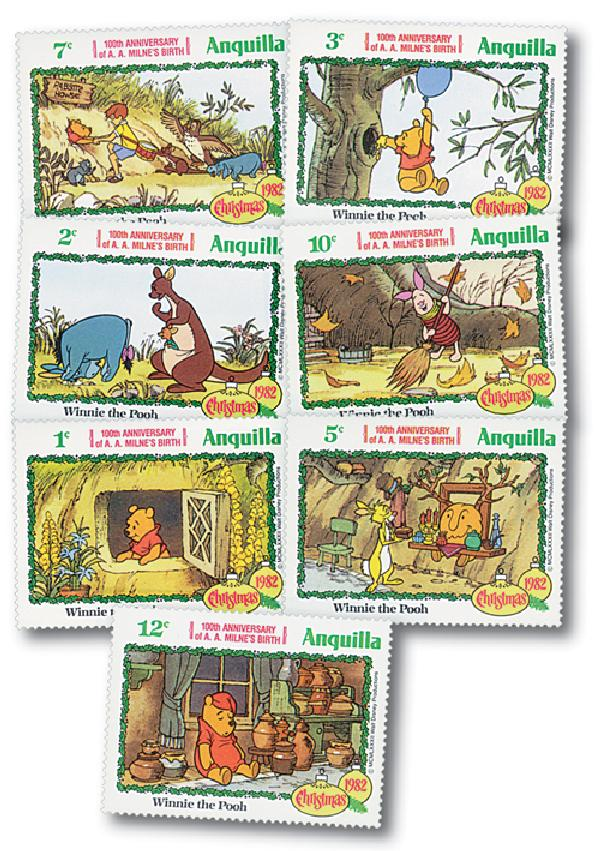 1982 Disneys Winnie the Pooh Christmas, Mint, Set of 7 Stamps, Anguilla