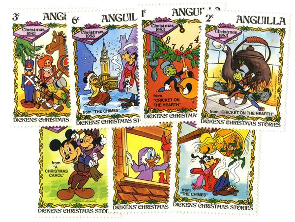 1983 Disneys Christmas, Mint, Set 0f 7 Stamps, Anguilla