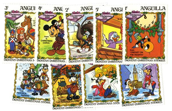 1983 Disney Celebrates Christmas with  Charles Dickens Stories, Mint, Set of 9 Stamps, Anguilla