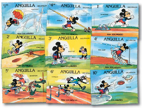 Anguilla L.A. Olympics, 9 Mint Stamps