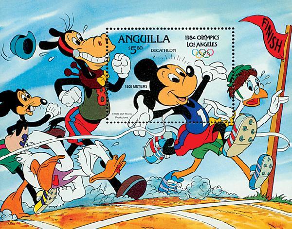 1984 Disneys Los Angeles Summer Olympics, Mint Souvenir Sheet, Anguilla