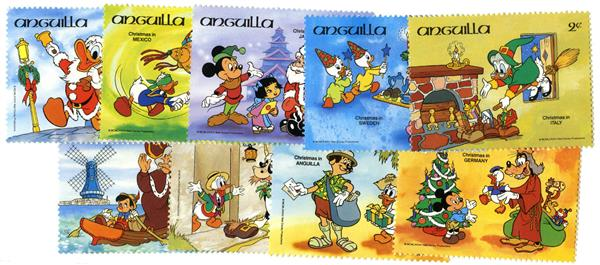 1984 Disney Celebrates with Christmas Around the World, Mint, Set of 9 Stamps, Anguilla