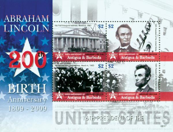 2008 Antigua Abraham Lincoln 4v Mint