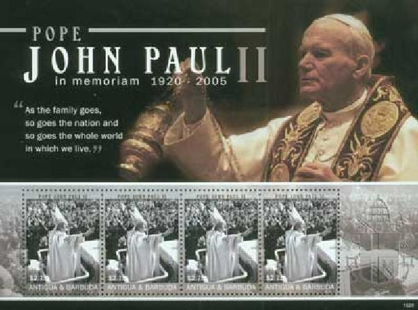 2010 Antigua Pope John Paul II 4v M