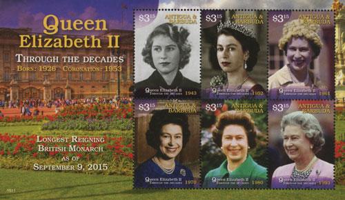 2015 $3.15 Queen Elizabeth II - Through the Decades, Mint, Sheet of 6 Stamps, Antigua