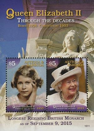 2015 $5 Queen Elizabeth II - Through the Decades, Mint Souvenir Sheet, Antigua