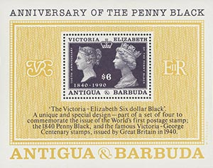 1990 $6 150th Anniversary of the Penny Black S/S