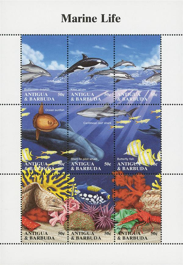 1994 50c Bottlenose Dolphin, Marine Life sheet of 9 stamps