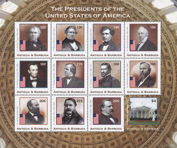 2018 Presidents of the United States, sheet of 12 stamps, Taylor - Cleveland, plus White House Stamp