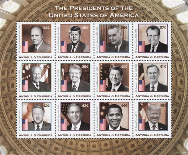 2018 Presidents of the United States, sheet of 12 stamps, Eisenhower - Trump