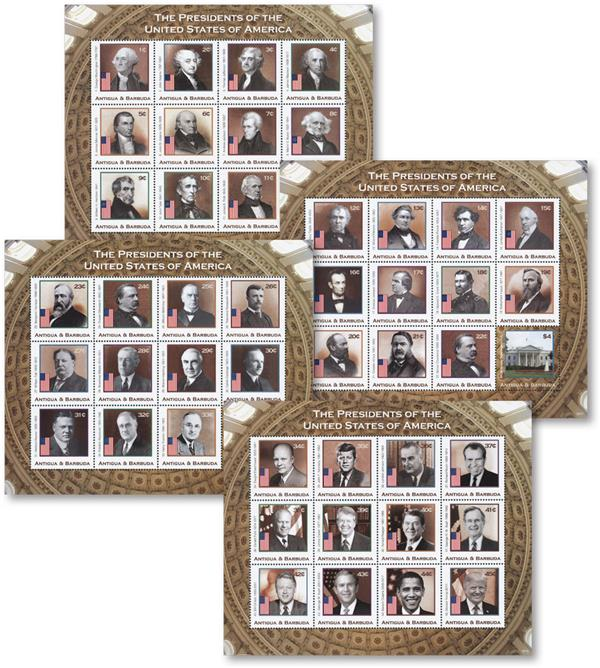 2018 Presidents of the United States set of 4 sheets of 12