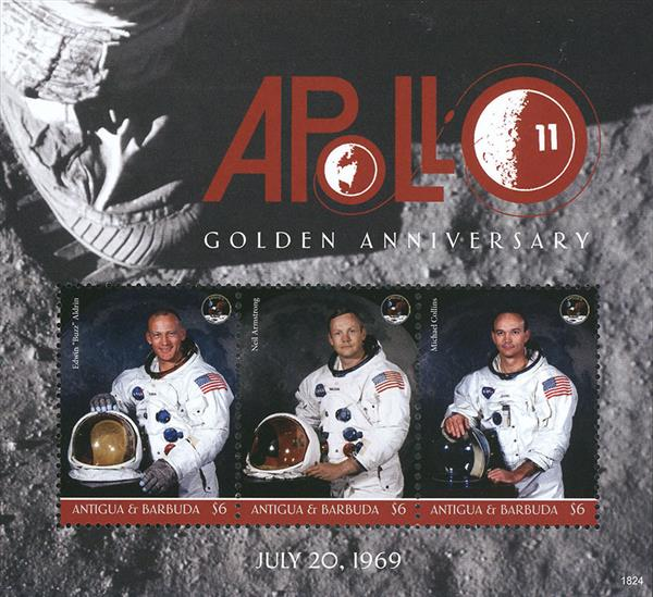 2018 $6 Apollo 11 Golden Anniversary sheet of 3