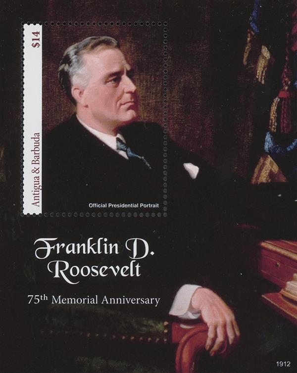 2019 $14 FDR Official Presidential Portrait souvenir sheet of 1