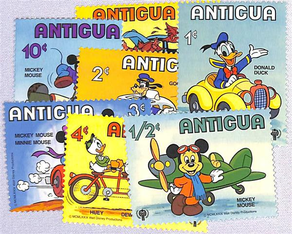 1980 Disneys International Year of the Child, Transportation, Mint, Set of 7 Stamps, Antigua
