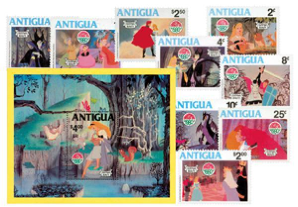 1980 Disneys Sleeping Beauty, Mint, Set of 9 Stamps and Souvenir Sheet, Antigua
