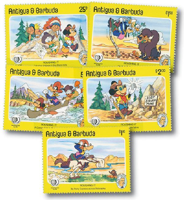 1985 Disneys Mark Twain - Roughing It, Mint, Set of 5 Stamps, Antigua