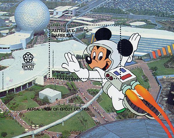 1988 Disneys Characters At Worlds EPCOT Center, Mint Souvenir Sheet, Antigua