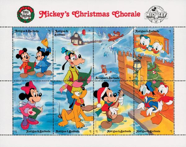 1988 Disneys Christmas - Mickeys Chorale, Mint Sheet of 8 Stamps, Antigua & Barbuda
