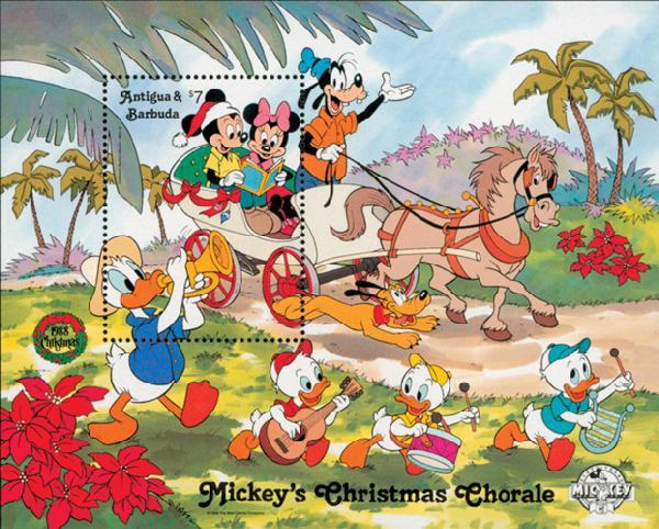 1988 Disneys Christmas - Mickeys Chorale, Mint Souvenir Sheet, Antigua & Barbuda
