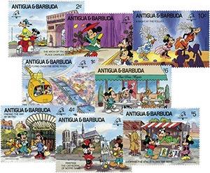 1989 Disney Friends at PHILEXFRANCE, Mint, Set of 8 Stamps, Antigua-Barbuda