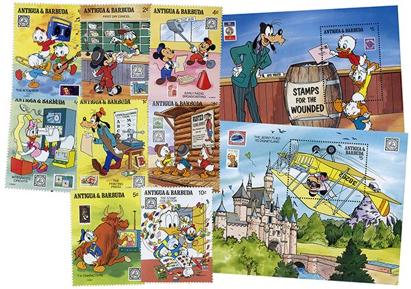 1989 Disney Friends At American Philatelic Society (APS) Stamp Show, Mint, Set of 8 Stamps, 2 Souvenir Sheets, Antigua